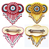 Seed Beaded Flower Bead work Multi color French clip Hair Barrette Wholesale Lot 2