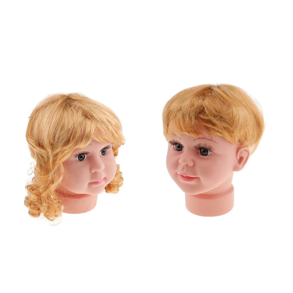 MagiDeal 2pcs Girl and Boy Baby Child Kid Mannequin Head Model with Wigs Set for Hats Caps Wigs Sunglasses Show Display