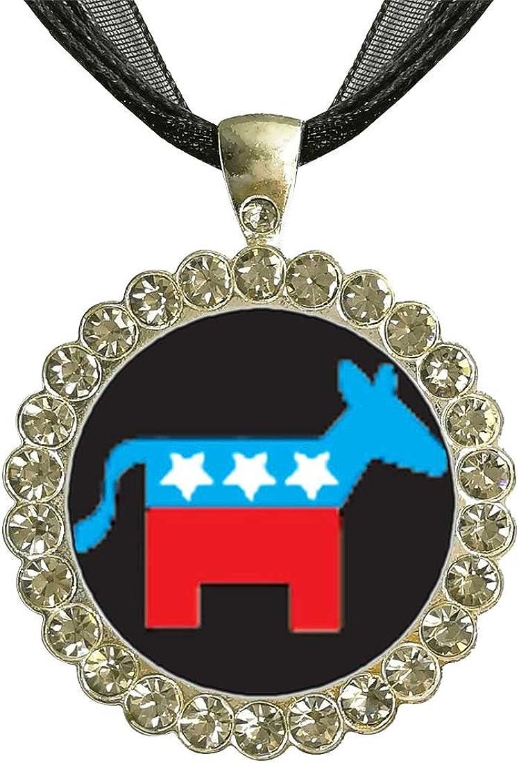 GiftJewelryShop Bronze Retro Style Democrat Donkey On Black Jewelry Vintage Key Pendant Charm Necklaces