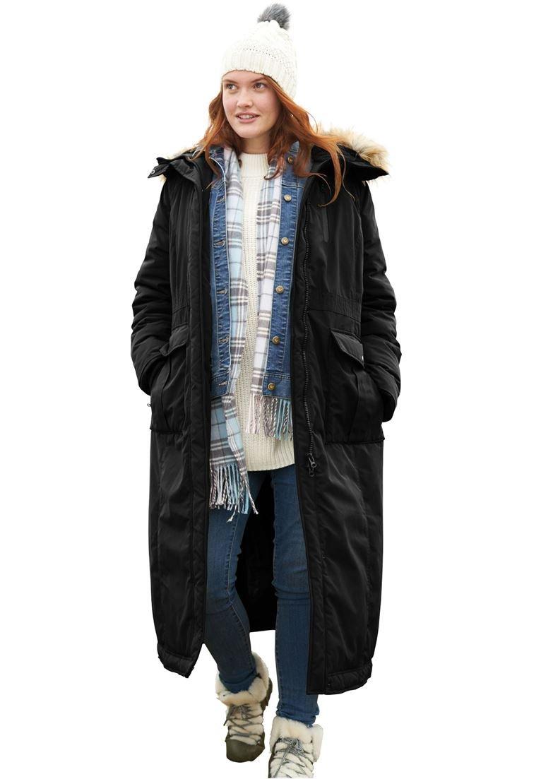 Woman Within Women's Plus Size Long Arctic Parka Black,34/36