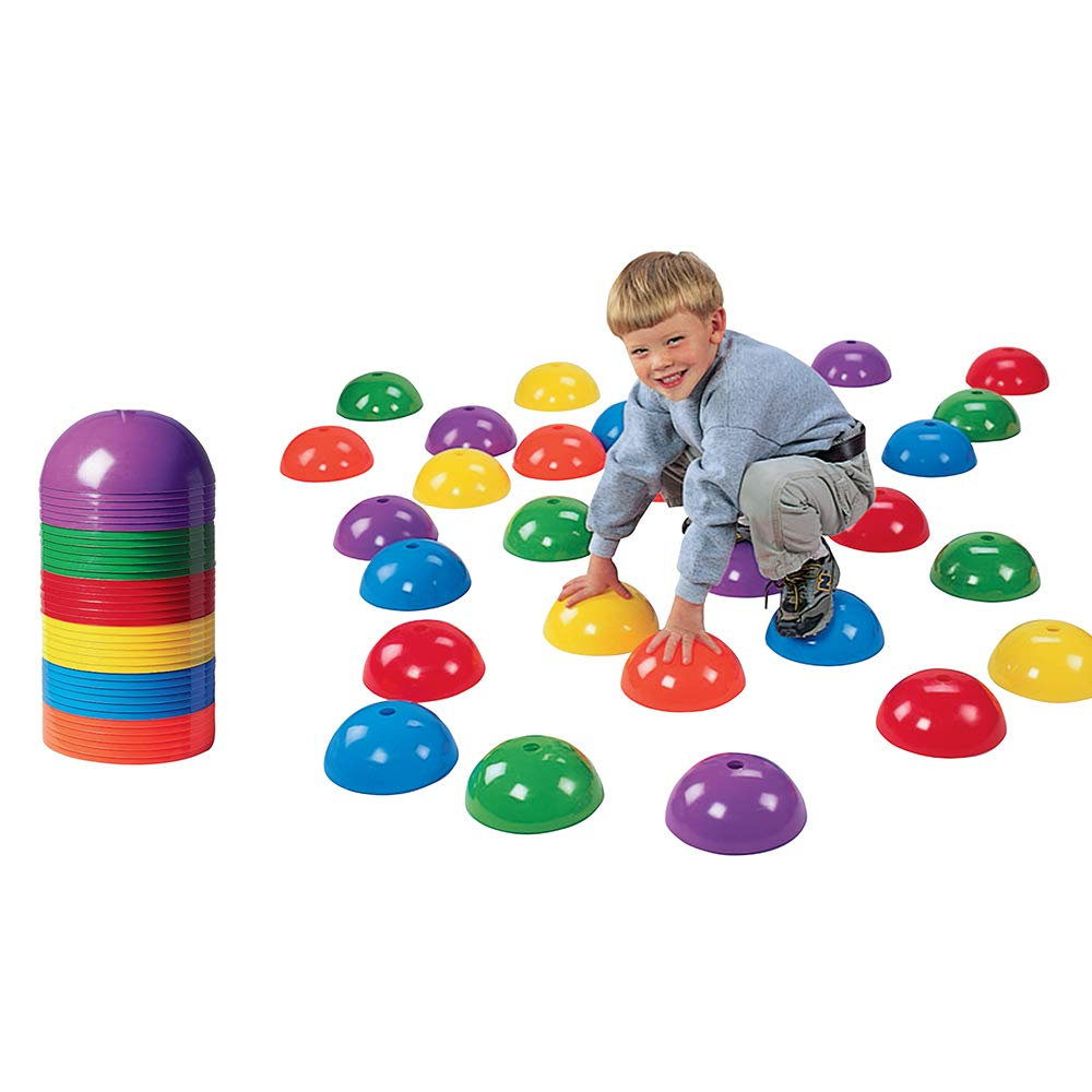 Constructive Playthings Stepping Domes, Indoor and Outdoor Exercise Cones for Kids, 36 Piece Set