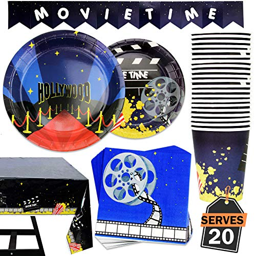 82 Piece Movie Night/Red Carpet Theme Party Supplies Set Including Banner, Plates, Cups, Napkins, and Tablecloth, Serves 20