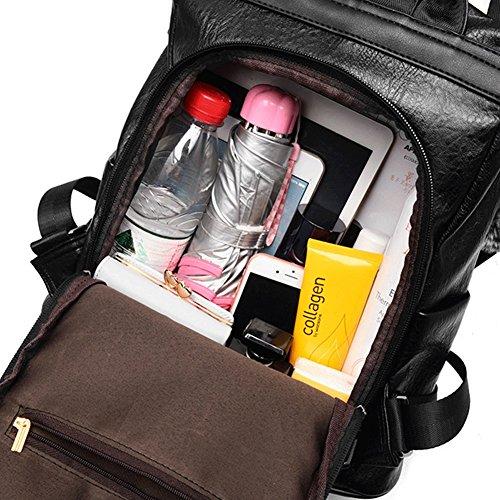 Bag Waterproof Shoulder Lightweight Anti Black Nylon School theft Backpack Purse Women fcqwH1Zz1