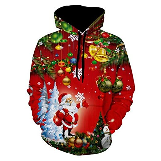Jingle Bells Christmas Tree Santa Claus Hoodie Sweatshirt Men Women 3D Hooded Sweatshirt Sudadera Hombre Pullover