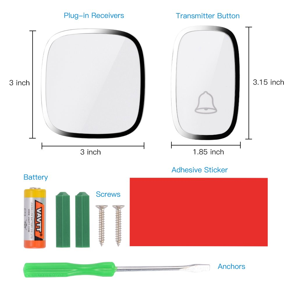 Wireless Doorbell WADAVA Waterproof Bell Plug-in Door Chime Kit with 1000ft 280m Range 36 Tunes 1 Push Button & 2 Receivers Without Battery Required 4 Level Volume LED Flash Hardware Included (white) by WADAVA (Image #4)