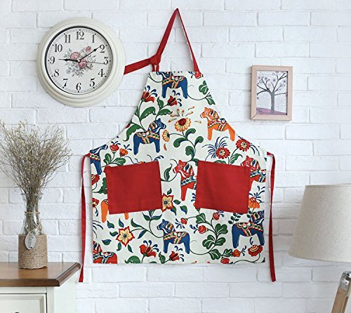 Apron Horse (Great Gift for Mum Red Apron for Women with Pockets, Fashion Dala Horse Design)