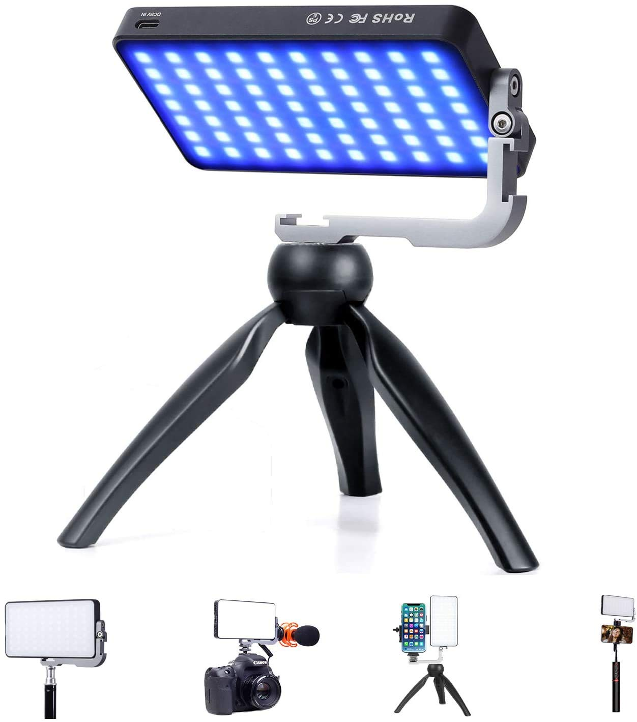 IVISII G2 Pocket RGB Camera Light,32Wh Built-in 4300mAh Rechargeable Battery 360°Full Color Gamut 9 Light Effects,2600…
