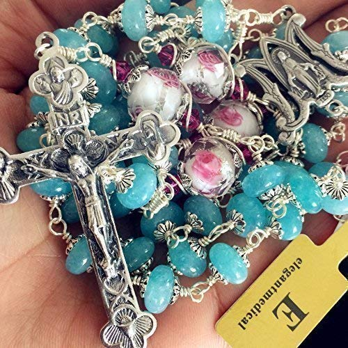 elegantmedical Sterling Silver Wire Wraped Aquamarine Beads 5 Decade Rosary Cross Necklace Box Religious