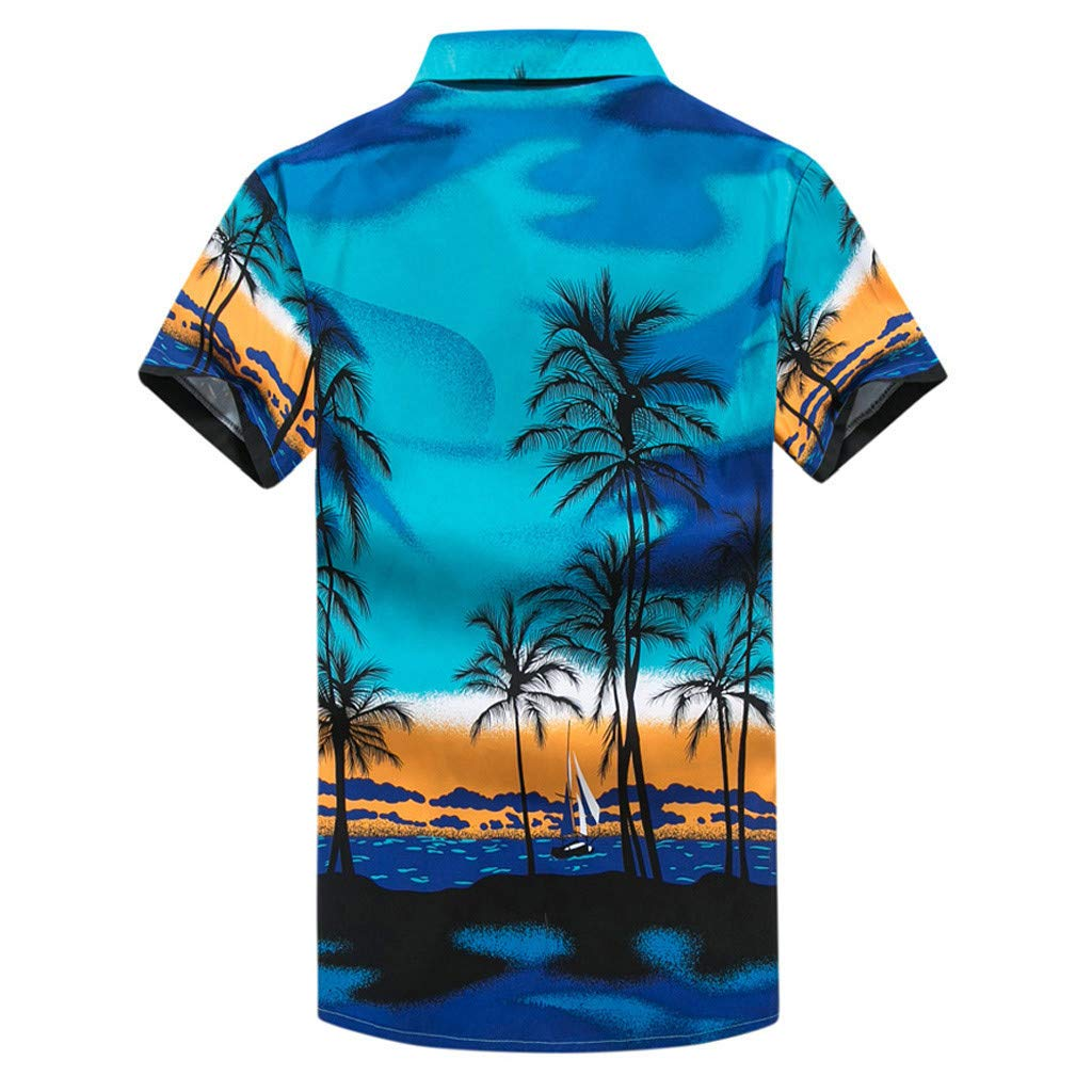 NUWFOR Men Hawaiian Print Short T-Shirt Sports Beach Quick Dry Blouse Top Blouse(Blue,XXL US Chest:48.8'' by NUWFOR (Image #2)