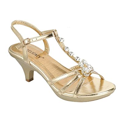Delicacy Angel-62 Womens Strappy Rhinestone Dress Sandal Low Heel Shoes, Gold_T Strap, 10 | Heeled Sandals