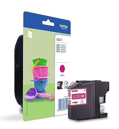 Brother LC221MBP Cartucho de tinta magenta original para las impresoras DCPJ562DW, MFCJ480DW y MFCJ880DW, duración estimadahasta 260 páginas (según ...