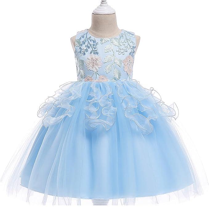 Mengmiao Elegante De Princesa Fiesta Para Niña Vestido Flor Boda Niña Azul Cielo 100