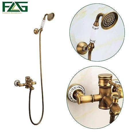 PST Bamboo Shower Faucet Mixer Tap + Ceramic Antique Brass Bath ...