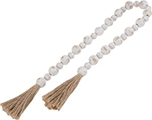 GENMOUS & CO. Wood Bead Garland with Tassels Farmhouse Decorative Wooden Beads Garland Decor Prayer Beads for Rustic Country Wall Hanging Decor 39 Inches(White Washed)