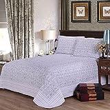 MOWANG 3-Piece Quilt Sets, 100% Cotton Floral Pastoral Bedspread Sets, Queen Size (Queen)