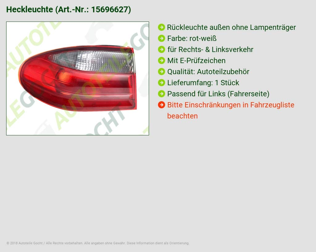 Rear light outer LH