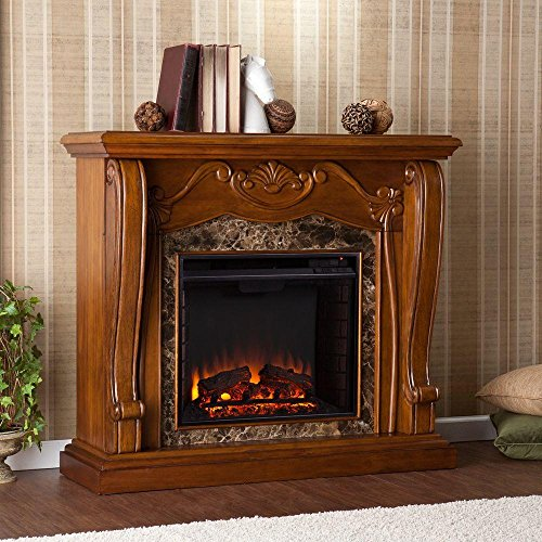 Cheap Southern Enterprises Lila 45.25 in. Freestanding Electric Fireplace in Walnut Black Friday & Cyber Monday 2019