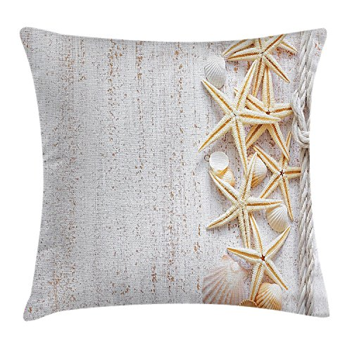 (FJPT Throw Pillow Cover Summer Seashells and Starfish with Navy Rope in Vertical Direction Wood Surface Ocean Beach Creative Decorations for Sofa Bed Cotton Square Stand Size Pillowcase 24x24 Inch)