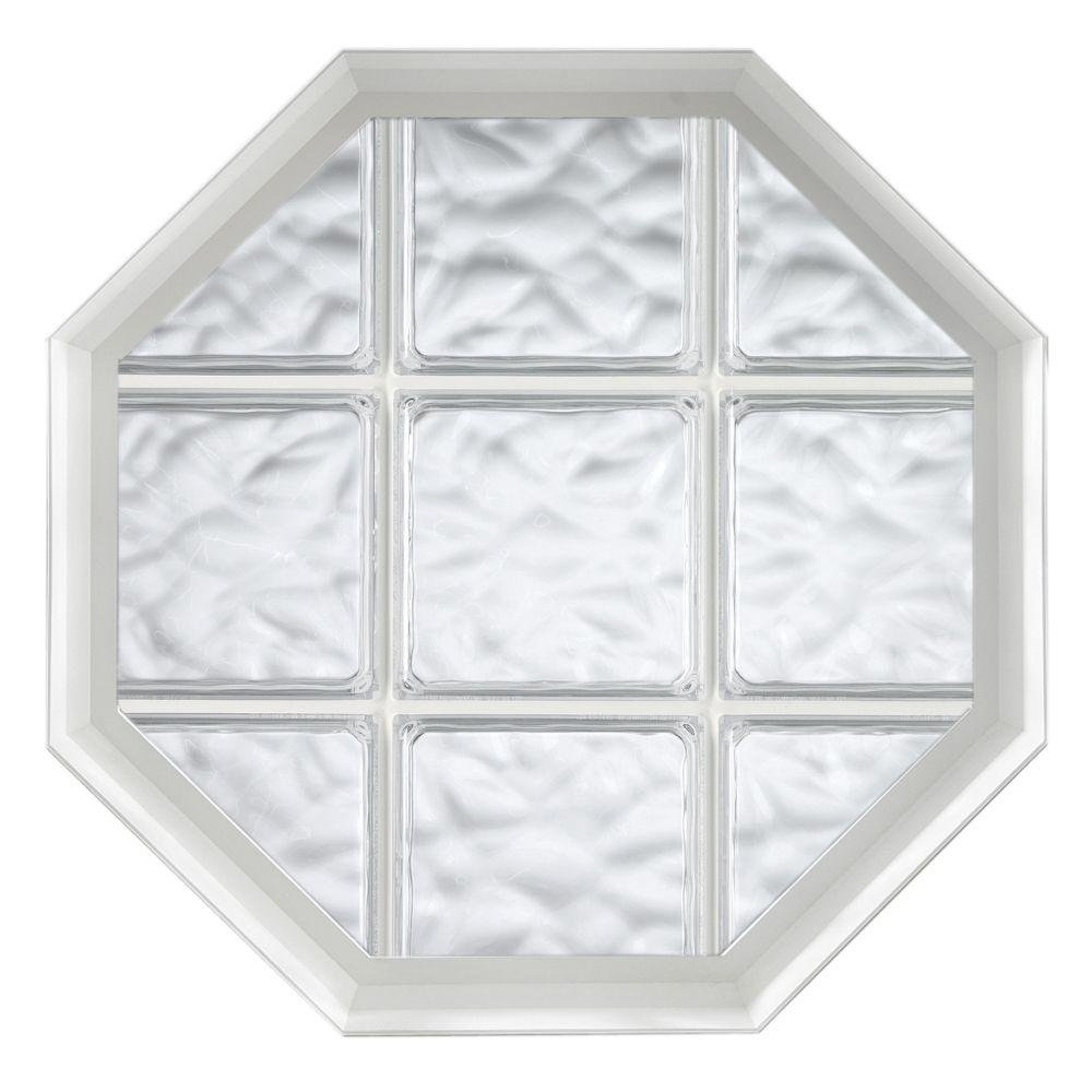 Hy-Lite 26 in. x 26 in. Wave Pattern 8 in. Acrylic Block White Vinyl Fin Fixed Octagon Window with White Silicone