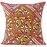 Eyes of India - 24'' Burgundy Red Colorful Patchwork Cushion Couch Pillow Throw Cover Sofa Bohemian Boho IndianCover Only