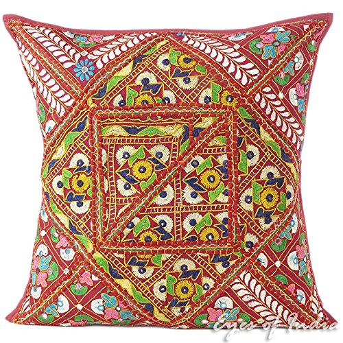 Eyes of India - 24'' Burgundy Red Colorful Patchwork Cushion Couch Pillow Throw Cover Sofa Bohemian Boho IndianCover Only by Eyes of India