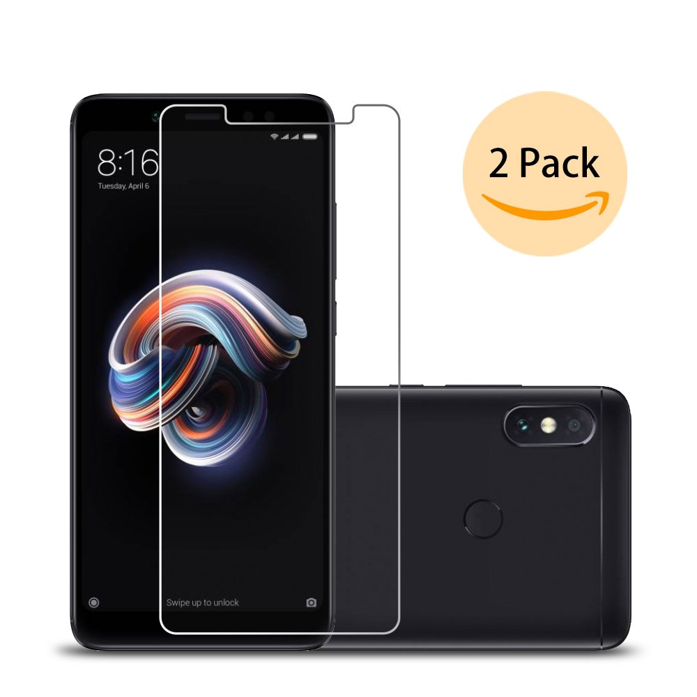 [2 Pack] Xiaomi redmi Notes 5 Pro Protective Film, Beschermende Film Ecoye in getemperd glas voor Xiaomi redmi Notes 5 Pro met 9H Hardheid, High Definition Transparantie, anti-fingerprint en krasbestendig.