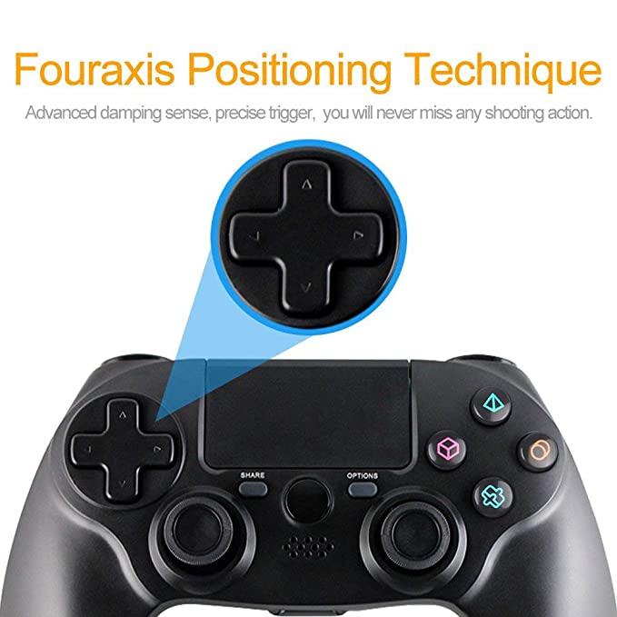 Autker PS4 Controller, Dualshock 4 Wireless Controller with Double  Vibration & Touch Pad & Dynamic LED & Headset Jack for PS4 Playstation 4  (Black)