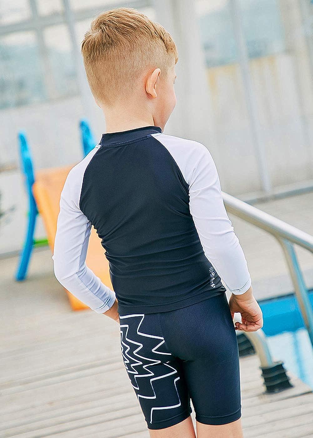 SABOLAY 3-Piece Little Girls Boys Long Sleeve Cartoon Swimwear Set UPF50 Quick Dry