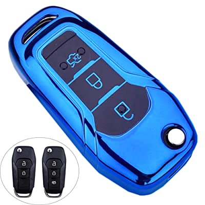 Royalfox(TM) 2 3 Buttons Full TPU flip Remote Key Fob case Cover for Ford F150 F250,Focus 3 Escort Kuga Mondeo Everest Fiesta Mustang Fecosport Edge MKV Fusion 2016 Ranger S-max (Blue)