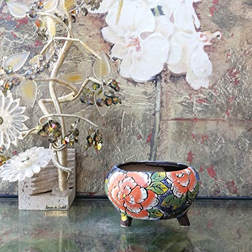 Hand Carved & Painted Ceramic Plant Pot with Drainage   Flower Vase Home Decor   Succulent Cactus Herb Planter 1
