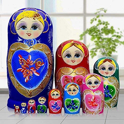 King&Light 10pcs B Heart-shaped pattern Wooden nesting toys Russian dolls Matryoshka stacking dolls