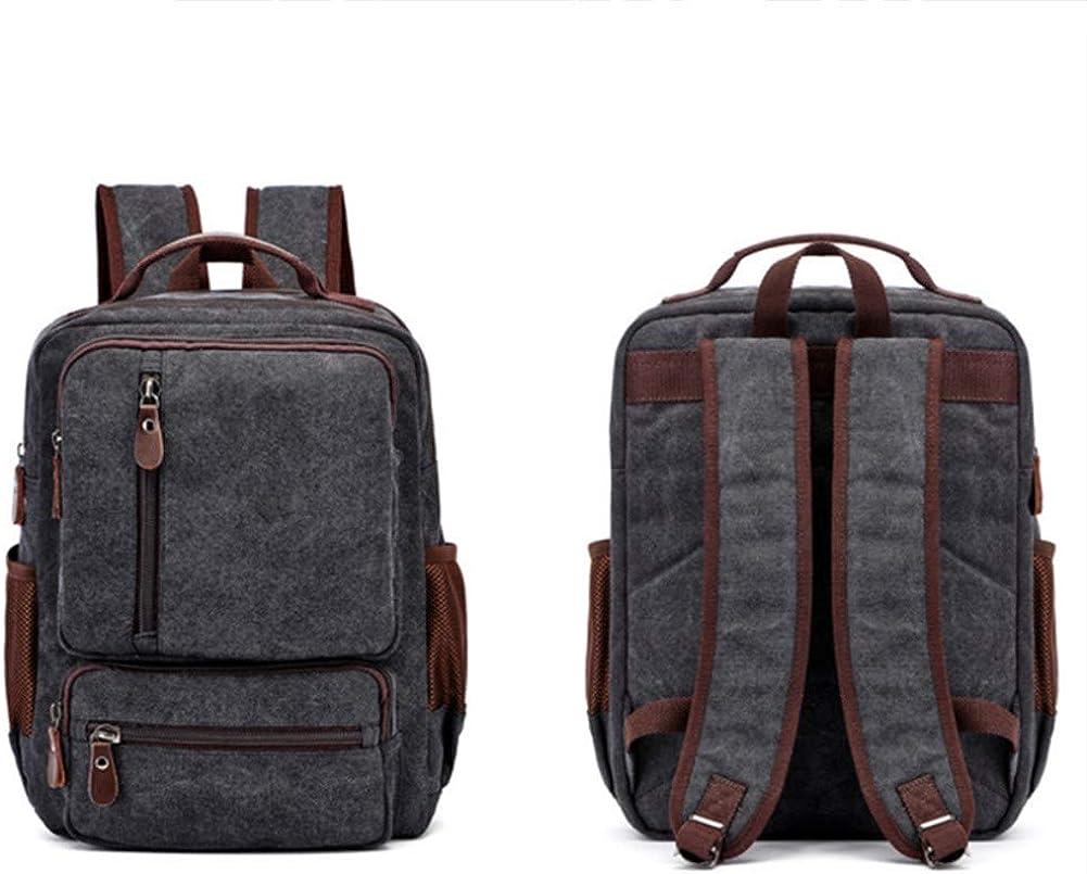 A.OAQRFA Vintage Canvas Rucksack für Männer, Laptop Rucksack, Rucksack für Männer, Mode für große Männer zu Reisen Rucksack, Rucksäcke mit Reißverschluss, 33x10x41cm Schwarz