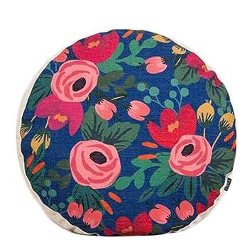 Amazon.com: Country Style flor patrón de sofá cojín redondo ...
