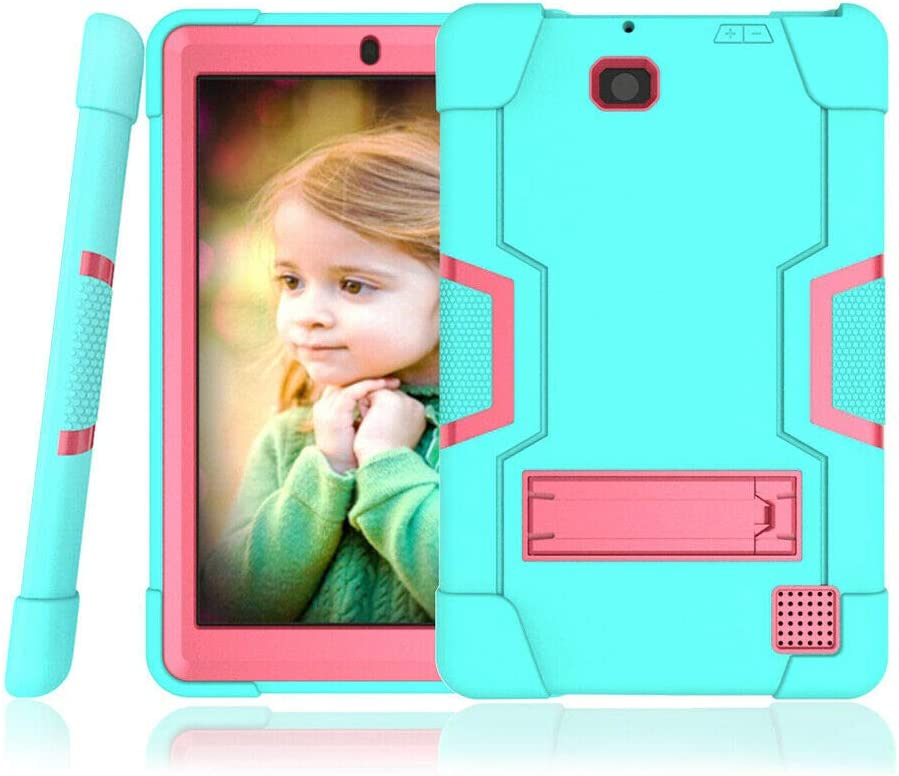 Cherrry for RCA Cambio W101V2 Case,Heavy Duty Shockproof Rugged Impact Resistant Hybrid Three Layer Full Body Protective Case Cover for RCA W1013 DK/W101 V2/RCA 10 Viking/Viking 2 Pro (Green/Pink)
