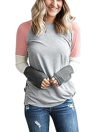 3c8dab0bff24 Yieune Langarmshirt Damen Streifen Tops Elegant Lose T-Shirt Sweatshirt  Bluse Rundhals Tunika (Grau