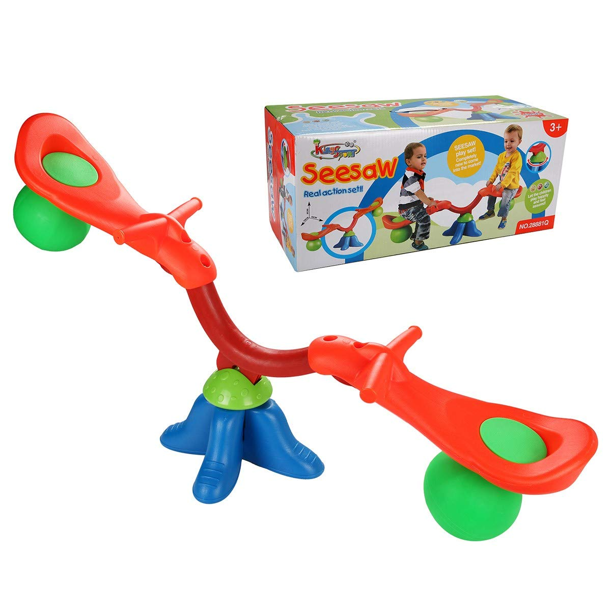 Kids Seesaw 360 Degree Spinning Teeter Totter Bouncer Bright and Cheerful Color Easy-Grip Handles by EnjoyShop (Image #3)