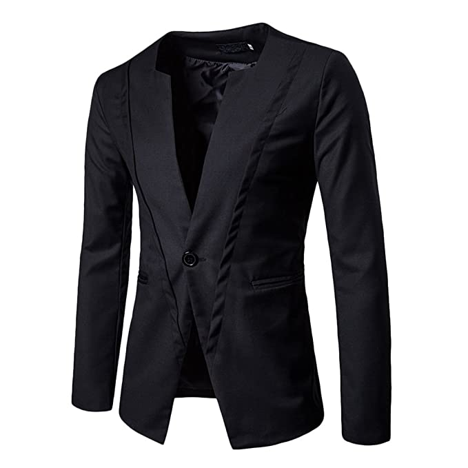 Zhhlaixing Blazer para Hombre Traje Chaqueta Hombre Abrigos Manga Larga Chaqueta Blazer Slim Fit Oficina Formal de Negocios One Button Coat Soft Jacket: ...
