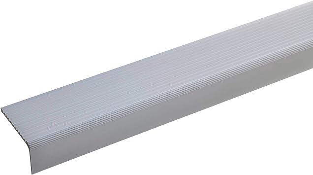 acerto 51023 Perfil angular de escalera de aluminio - 100cm 23x40mm bronce claro Antideslizante I Robusto I De fácil instalación Perfil de borde de escalera perfil de peldaño de escalera de aluminio: