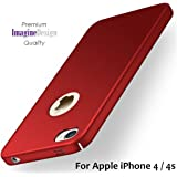"""WOW Imagine(TM) All Sides Protection """"360 Degree"""" Sleek Rubberised Matte Hard Case Back Cover For Apple iPhone 4 / 4S - Maroon Wine Red"""