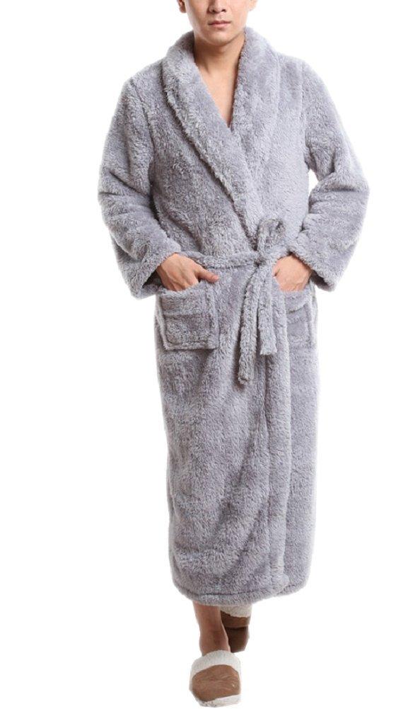SexyTown Long Super Warm Plush Bathrobe Soft Microfiber Fleece Robe (8, Light Gray)