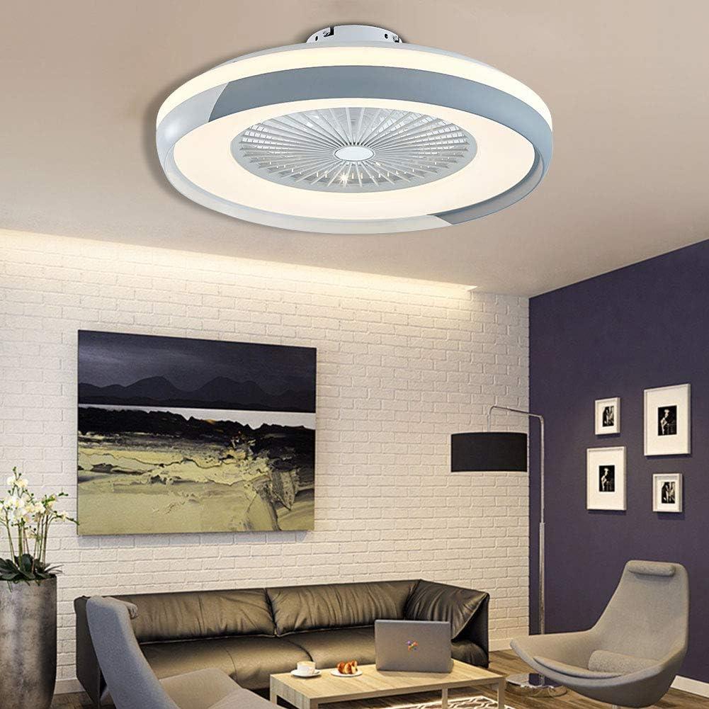plata sin hojas con luces LED para dormitorio comedor OUKANING Ventilador de techo con iluminaci/ón ventilador de techo LED sal/ón