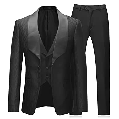 a11c7a849ee9 Men Suits 3 Piece Slim Fit Wedding Formal Business Dress Black Tuxedo Shawl  Lapel Blazers Jacket