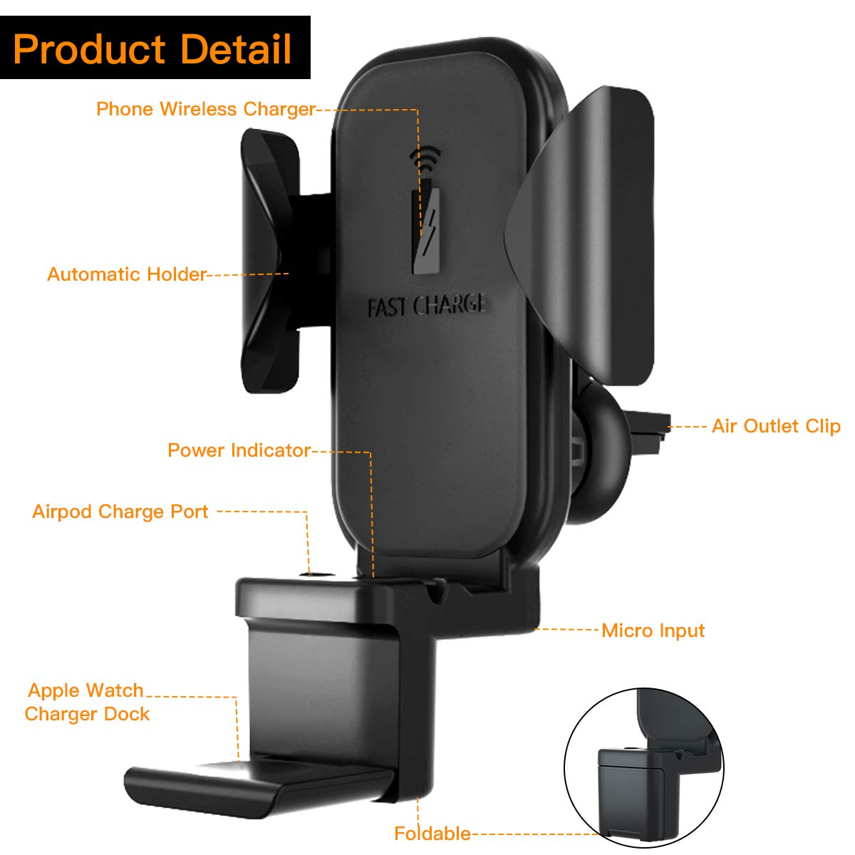 Fast Wireless Charging Holder Car Phone Mount for Apple Watch//Airpods//iPhone 11 Pro Max//X//XR//XS Max and Samsung Galaxy S10//S10 Plus Note9//S9//S8//Note 10 Plus 3 in 1 Qi Wireless Car Charger Air Vent