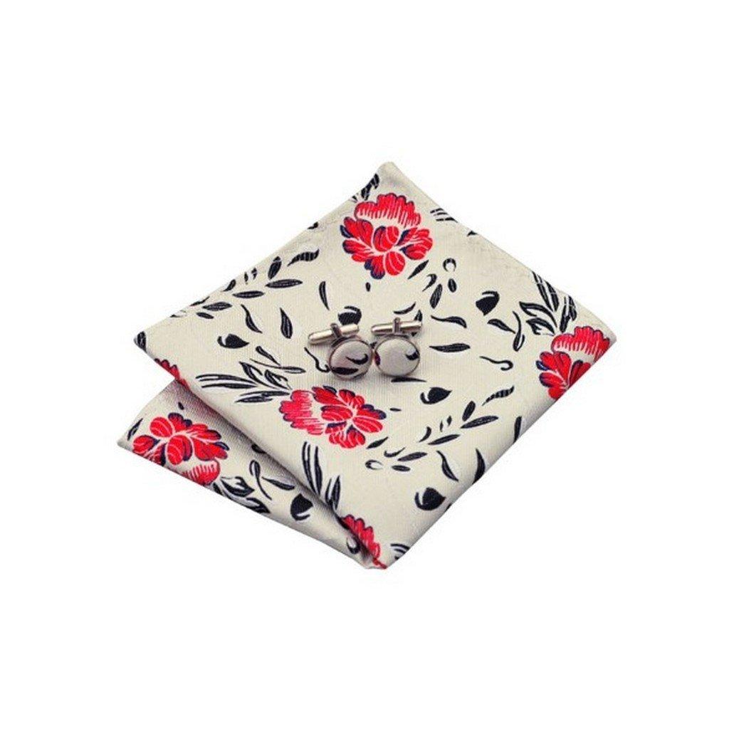 Mens Jacquard Woven Silk Ivorie Red Black Floral Tie Hanky Cufflinks Sets
