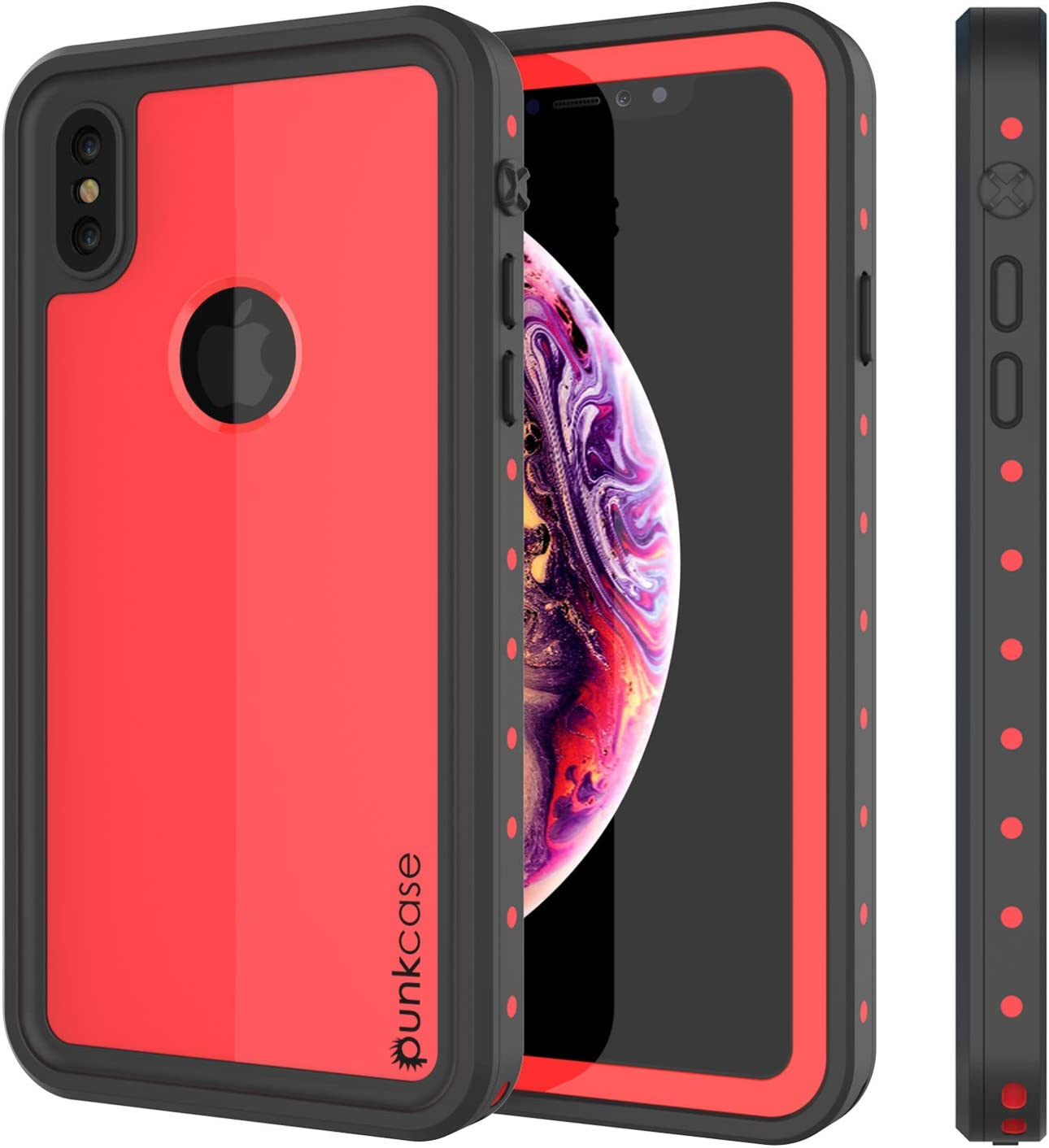 iPhone Xs Max Waterproof Case, Punkcase [StudStar Series] [Slim Fit] [IP68 Certified] [Shockproof] [Dirtproof] [Snowproof] Armor Cover for Apple iPhone Xs Max [Red]