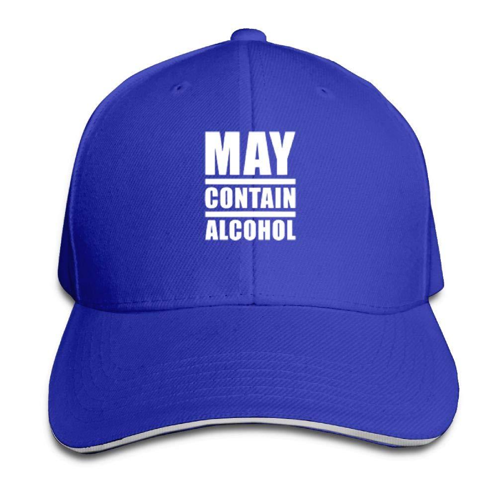 BUSEOTR May Contain Alcohol Baseball Caps Adjustable Back Strap Flat Hat