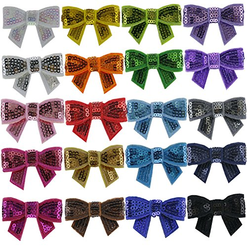 QingHan 20pcs Sequin Bow Clips Boutique Hair Bows For Girls Image