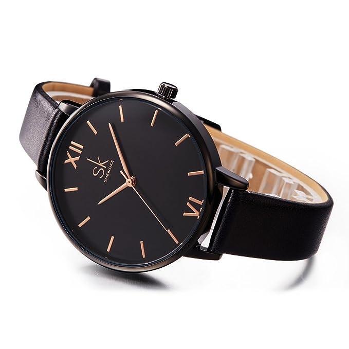 Amazon.com: SK Women Watches Leather Band Luxury Quartz Watches Girls Ladies Wristwatch (Black): Watches