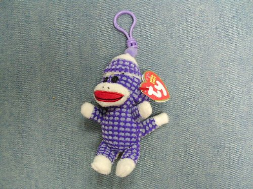 (Sock Monkey Purple Quilted, Beanie Babies, 5in purple quilted sock monkey w/keyclip, 1/2013 )