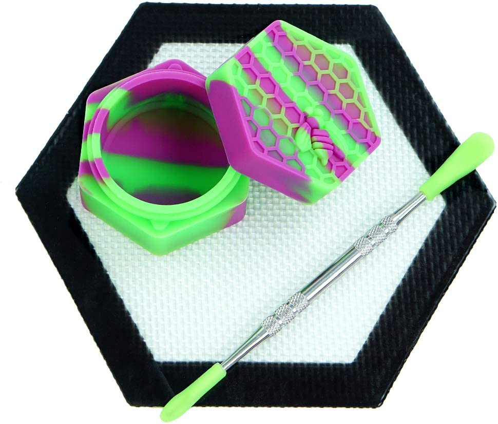 Purple/Green Silicone Wax Container Non Stick Food Grade 26ml Hexagon Honeybee Jar 5'' Concentrate Mat Pad by X-Value